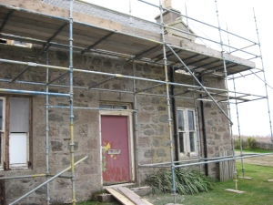 Scaffolding at the front of the house