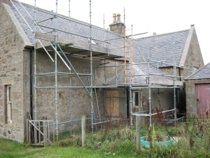 Preparations for roof repairs and new Velux windows.